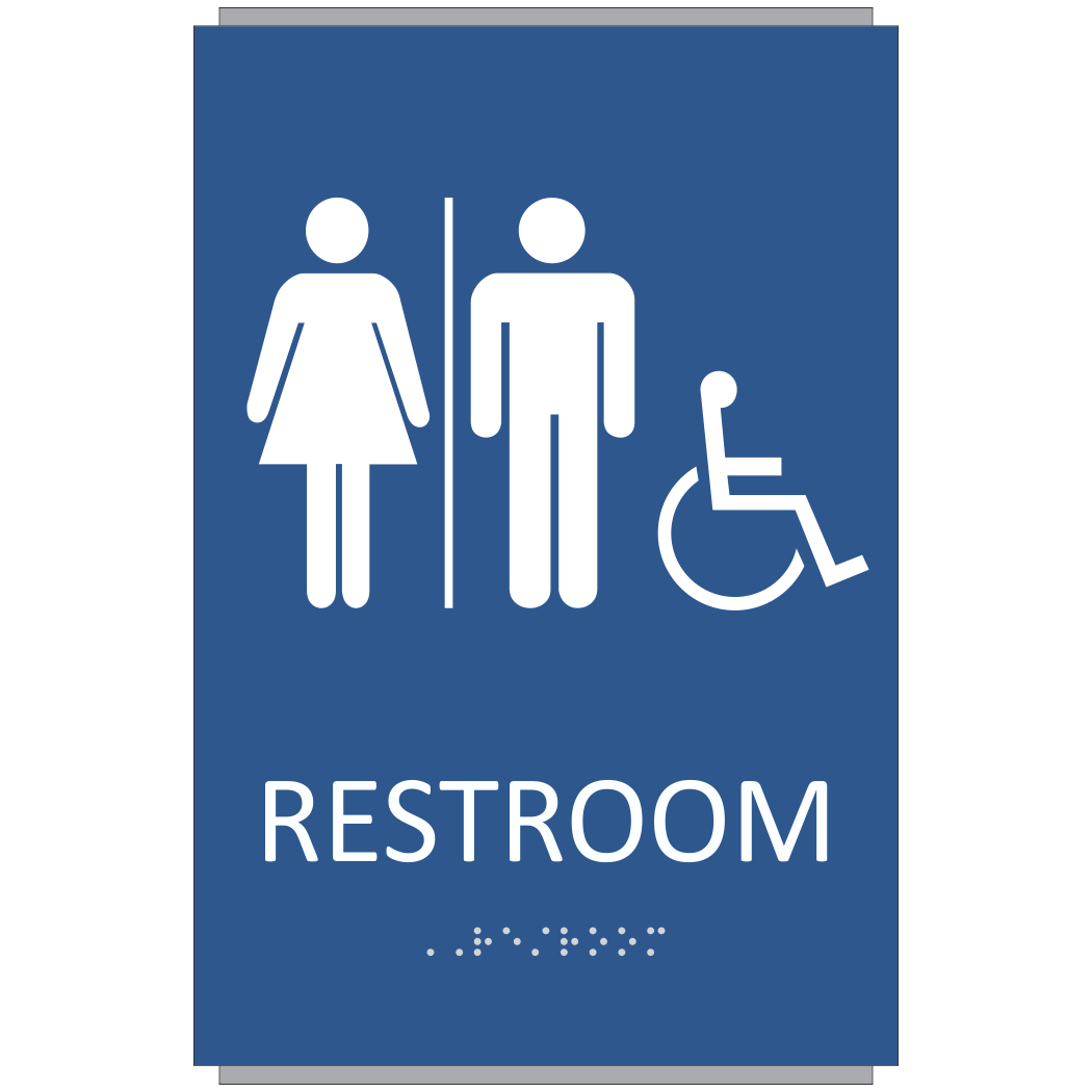 Ada braille unisex restroom sign sign design associates for Unisex handicap bathroom sign
