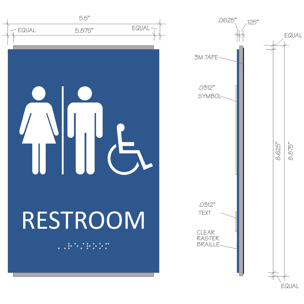 Bathroom Signs Braille ada braille unisex restroom sign | sign design associates, inc.