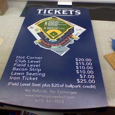Ball Park Ticket Pricing Sign