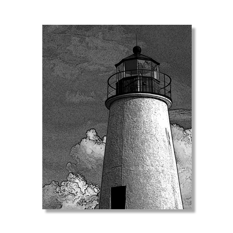 Turkey Point Lighthouse In Charcoal Canvas Print